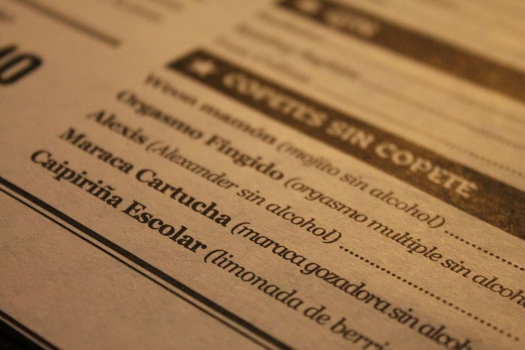 carta de cocktails humor